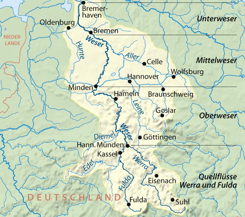 Einzugsgebiet der Weser, Quelle: wikipedia