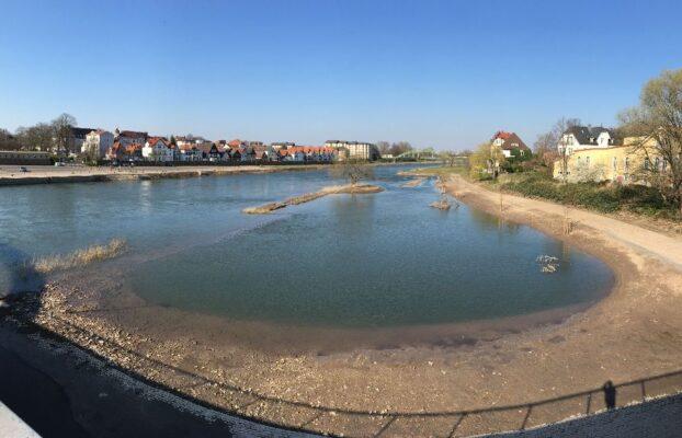 Rückgang des Hochwassers an der Stadtblänke in Minden